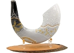 Painted Ram's Shofar Features King David's Harp - size: 20-22 inches