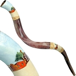 Hand Painted Jerusalem Shofar By Eretz Husyt