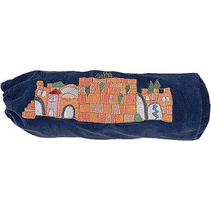 Jerusalem Blue Velvet Shofar Bag